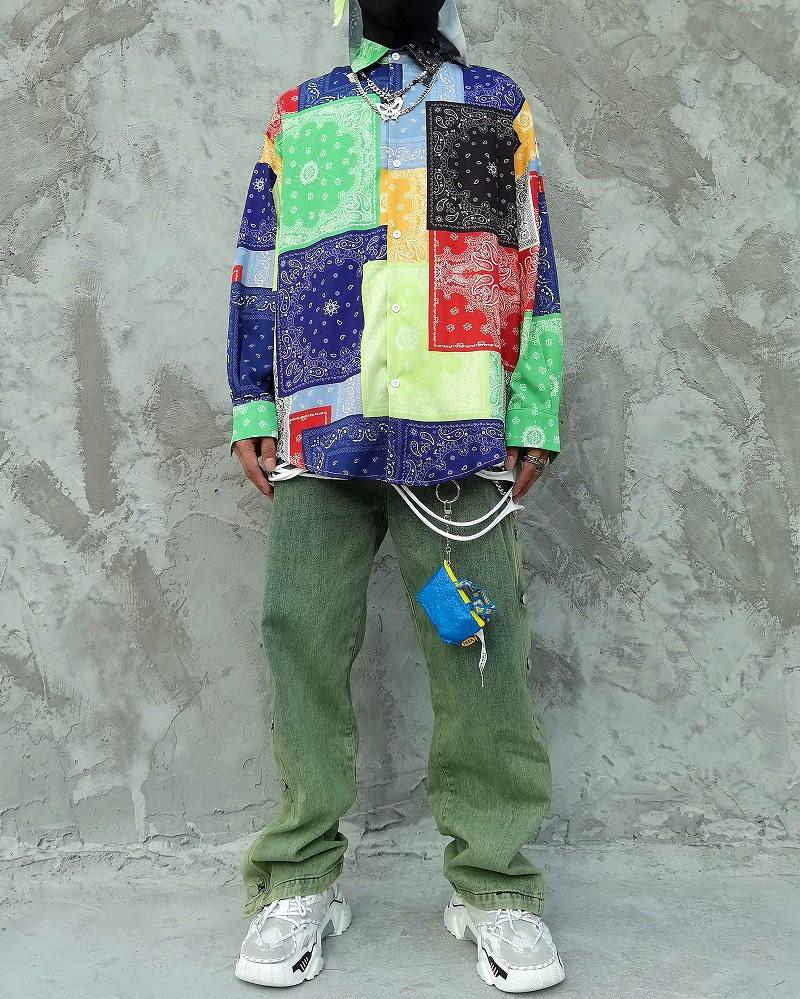 マルチカラーパッチワークバンダナ長袖シャツの画像5